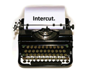 photo of typewriter with the word Intercut typewritten on a page