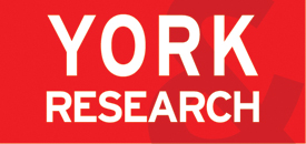 image with York Research in white on a red background
