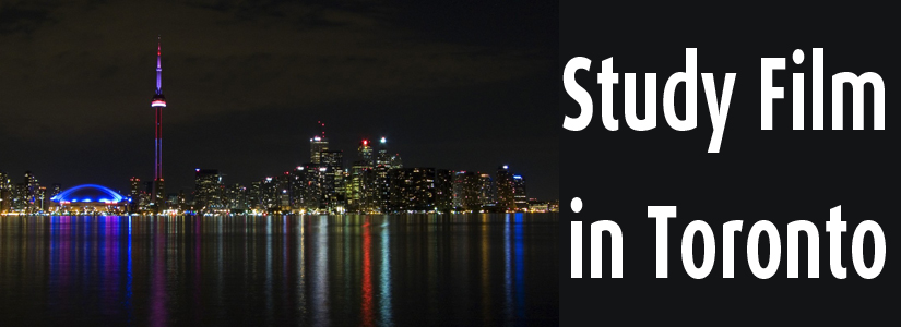 "photo of the Toronto skyline taken from Centre island at night with the text ""Study Film in Toronto"" superimposed on top"
