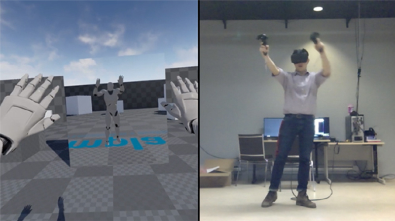 composite photo of David Han using VR equipment and a shot of the environment