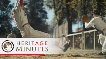 image of a Heritage Minutes splash screen with baseball players portrayed