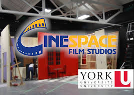 image of the Cinespace Film Studios logo and the York University logo superimposed over a flim stage setup